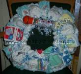 blue boy diaper wreath with basketball baby bottle