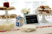 back to school baby shower table with chalkboards lunchtrays apples and milk cartons