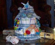 blue and silver star diaper cake