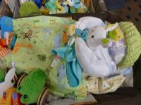 jungle diaper baby in playpen