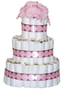 mod mom pink and brown diaper cake