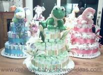 5 animal nappy cake centerpieces
