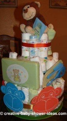happy monkey faces diaper cake
