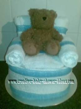 homemade diaper cake chair craft with blue accents