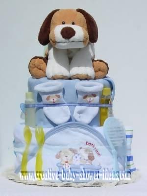 blue boy dog diaper cake