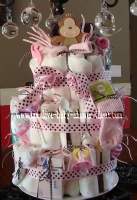 classy polka dot monkey diaper cake