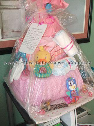 pink blanket duck diaper cake