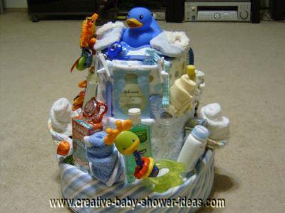 blue duck diaper baby cake
