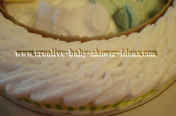closeup of inside frog diaper cake showing baby supplies