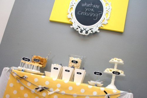 grey and yellow gender reveal party