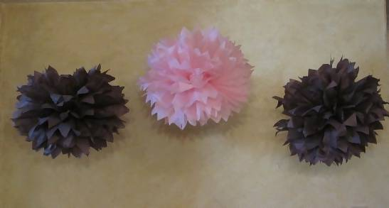 pink and brown tissue paper flowers