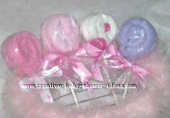 girl washcloth lollipops