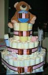 bown and pink bear diaper cake