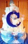 blue letter c monogram diaper cake