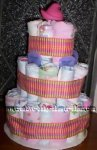 pink plaid ribbons diaper cake