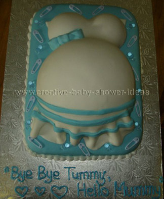 blue and white belly cake