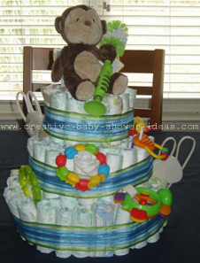 front of monkey diaper cake