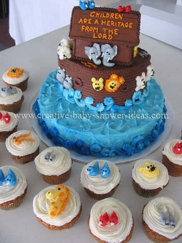 3D Noahs Ark Cake and Cupcakes for Baby Shower