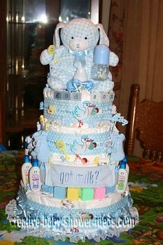 plaid blue bunny 5 tier diaper cake
