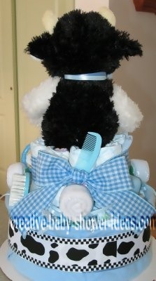 back of boy cow diaper cake