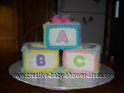 colorful abc blocks cake