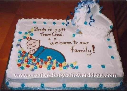 bassinet baby adoption cake