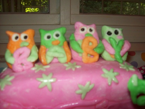 closeup of green orange and pink baby shower owls