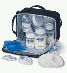 avent isis breast on the go breast pump kit in a black bag