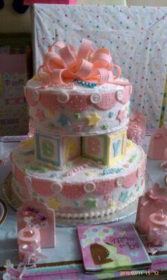 pink button and stars shower cake