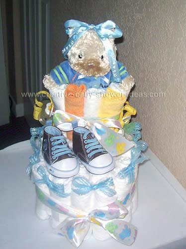 3 layer baby bootie with teddy bear and baby sneakers