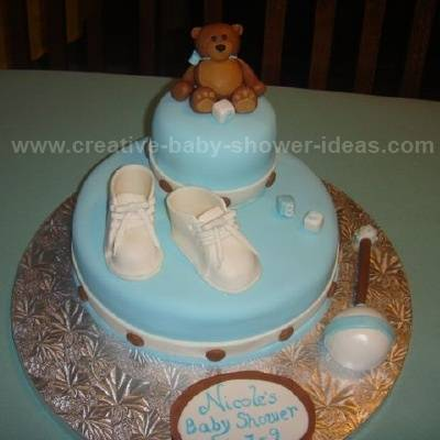 mod blue and brown bootie cake