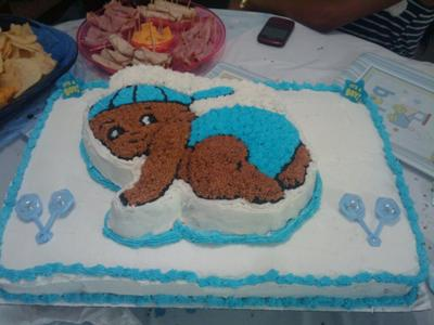 White Sheet Cake With Baby Boy Crawling Design On Top