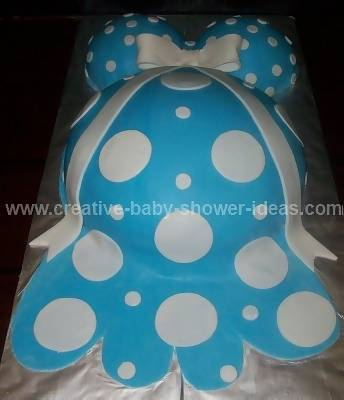 closeup of blue and white polka dots on pregnant belly cake