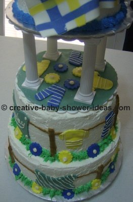 bottom of baby cake with scattered baby clothes decorations