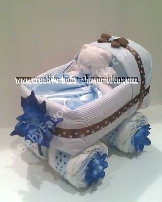 white and blue baby carriage diaper cake