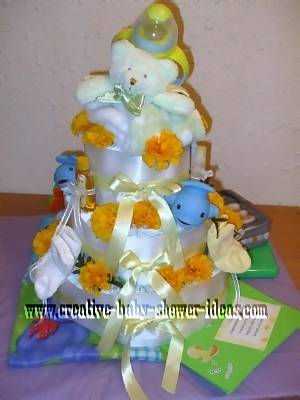 teddy bear and flowers diaper cake
