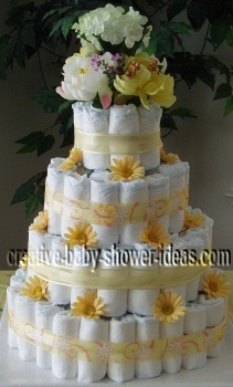 yellow and white daisy diaper cake