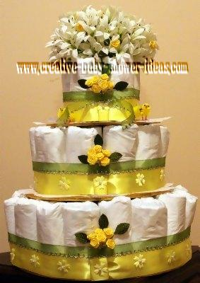 yellow and white chic diaper cake