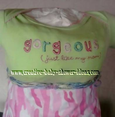 closeup of shirt that says gorgeous just like my mom
