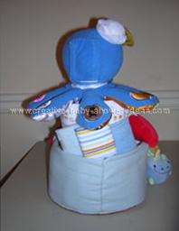 back of octopus baby einstein diaper cake