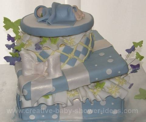 Blue And White Polka Dot Baby Shower Gift Box Cake