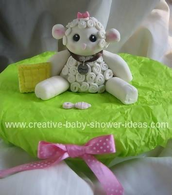 Cute Baby Lamb Cake Sitting on a Pillow