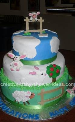 Blue and White Clouds Bunny and Lamb Cake