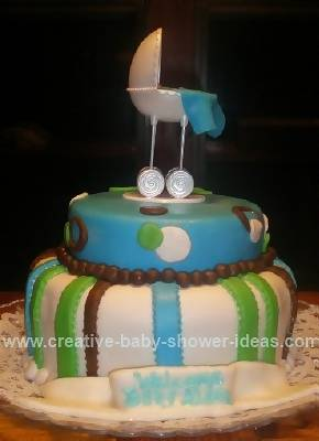 green and brown baby shower carriage cake