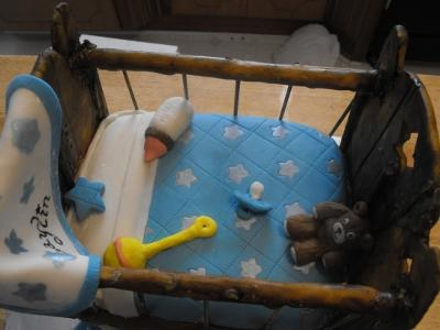 blue baby shower crib cake