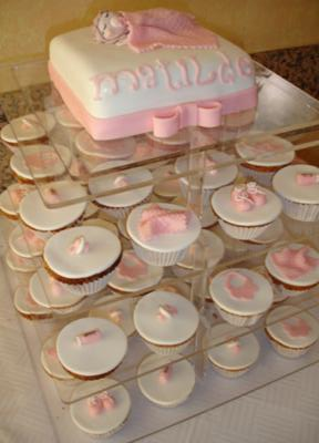 Pink and White Baby Shower Cupcakes