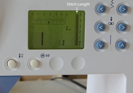 settings on the sewing machine showing stitch length