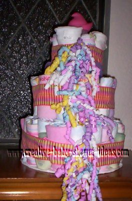 colorful ribbon pink diaper cake