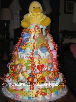 orange and yellow polka dot diaper cake