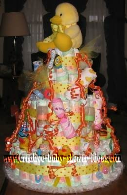 side duck polka dot diaper cake